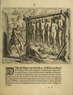 """Bartholomé de Las Casas - """"Kurtze Erklärung der fürnembsten Thaten, so durch die Spanier beschehen"""", plate 1, 1599."""