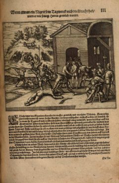 """Punishment of the slaves, plate 3 from Girolamo Benzoni's book """"Americae The Fifth Book"""" published in 1595."""