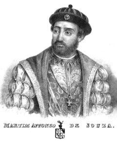 """Martim Affonso de Sousa, from Pero Lopes de Sousas report """"Diario da navegação da armada que foi á terra do Brasil - em 1530 -s sob a capitania-mor de Martim Affonso de Souza"""", Lisbon 1839."""