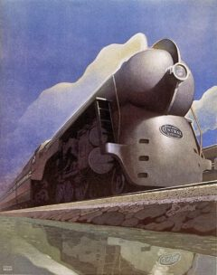 The Hudson locomotive J-3a of the 20th Century Limited on a promotional graphic of the New York Central, 1938.