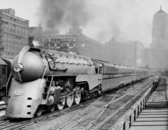 Test run of the new Twentieth Century Limited streamliner on June 9, 1938. In the photo, it is leaving LaSalle Street Station in Chicago.