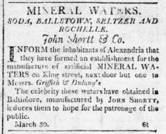 Alexandria Daily Gazette, 2 April 1812, page 3. Advertisement for Soda Water.