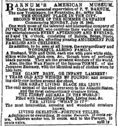 Barnum's American Museum. The Brooklyn Daily Eagle, 18. July 1860, page 3.