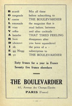 """Boulevardier advertisement. From Harry McElhone's book """"Barflies and Cocktails"""", 1927."""
