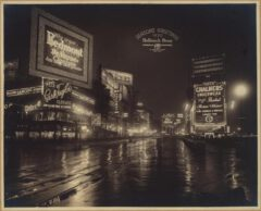 Broadway, north of West 46th Street, night view of upper part of Times Square. Autumn 1920.