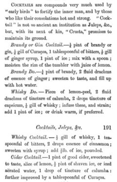Cocktails. William Terrington, Cooling Cups and Dainty Drinks, 1869, page 190-191.