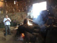 Distillation of mezcal.