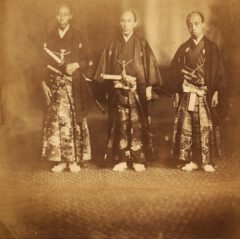 The Japanese envoys in 1860. From left to right Norimasa Muragaki, Masaoki Shinmi and Tadamasa Oguri.
