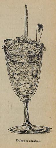 Dubonnet Cocktail. Pedro Talavera, Los secretos del cocktail, 1940. Page 77.