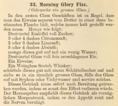 Harry Johnson, 1882, New and Improved Bartender's Manual, page 102 - Morning Glory Fizz.