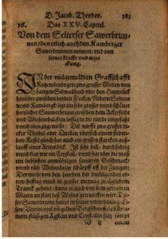 Jacobus Theodorus Tabernaemontanus: Von dem Selterser Sawerbrunnen. 1581.