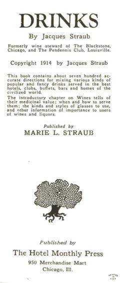 Jacques Straub: Drinks. Reprint.