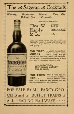James S. Zacharie, New Orleans Guide, 1902, Advertisement for Sazerac Cocktails.