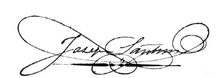 Joseph Santini, signature of 18 February 1864.