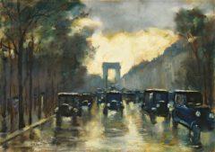 Leo Lesser Uri: Champs-Élysées with Arc de Triomphe, 1928.