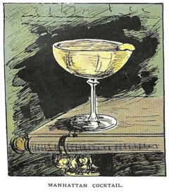 """The first illustration of a Manhattan Cocktail from Harry Lamore's book """"The Bartender or How to Mix Drinks"""" from 1888."""