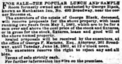 Manhattan Inn and George Black. New York Herald, 10. June 1881, page 11.