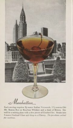 Manhattan. Leo Cotton, Old Mr. Boston Official bartender's Guide, 1953. Page 112f.