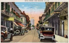Royal Street in New Orleans with the Hotel Monteleone in the background, around 1930.