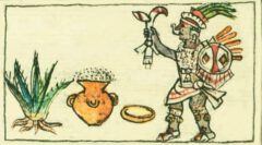 Mayahuel with a ripe agave and a pot of fermented agave. From the Codex Borbónico, around 1530.