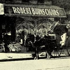 Image detail showing the advertisement for Robert Burns Cigars, 1898.