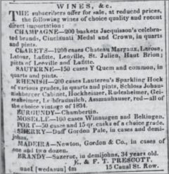 Sazerac advertisement in the Daily Picayune, 1842.