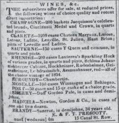 Sazerac advertisement in the Daily Picayune, 1842.