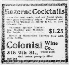 Sazerac Cocktails. Evening Star, 23. June 1904, page 6.