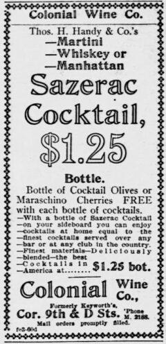 Sazerac Cocktails. Evening Star, 3. February 1903, page 9.