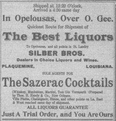 Sazerac Cocktails. St. Landry Clarion, 6. February 1909, page 7.