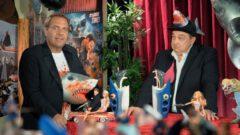 Sharknado 6 at Schlefaz. The presenters enjoying the drink Hai-Tai-Juhu-Endlich-Vorbei-Opai.