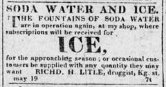 Soda Water and Ice. The Alexandria Herald, 19. May 1823, page 3.