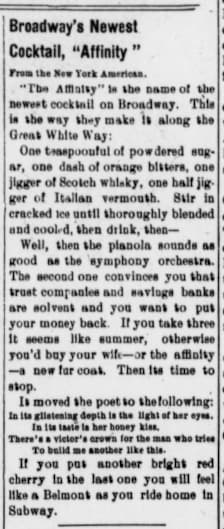 The Butler Weekly Times, 7. November 1907, page 5, Broadway's Newest Cocktail, Affinity.
