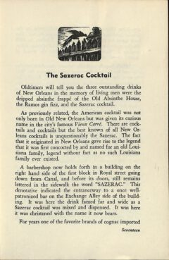 The Sazerac Cocktail - Stanley Clisby Arthur, Famous New Orleans Drinks, 1938. Page 17.