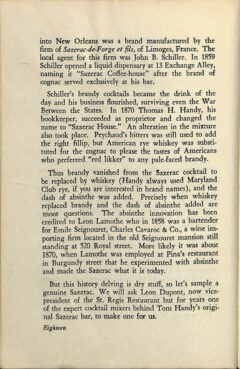 The Sazerac Cocktail - Stanley Clisby Arthur, Famous New Orleans Drinks, 1938. Pagee 18.