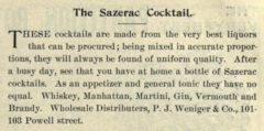 The Sazerac Coctail. Pacific Wine and Spirit Review, Vol. XLVI, No. 1, page 51.