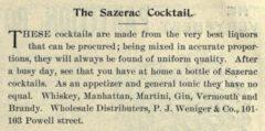 The Sazerac Coctail. Pacific Wine and Spirit Review, Vol. XLVI, No. 1, page 51.