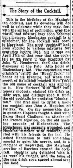 The Story of the Cocktail. Amsterdam Evening Recorder, 17. April 1917, pagee 4.