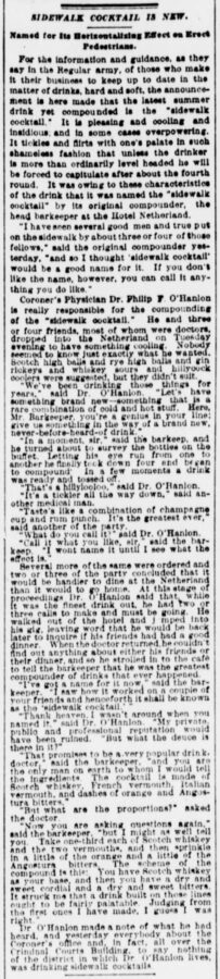 The Sun, New York, 27. June 1901, page 6, Sidewalk Cocktail is New.