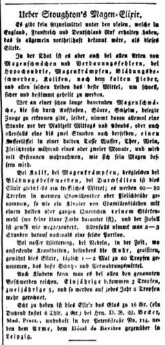 Ueber Stoughton's Magen-Elixir. Intelligenzblatt der Zeitung für die elegante Welt, 3. 29. February 1820. Page 2.