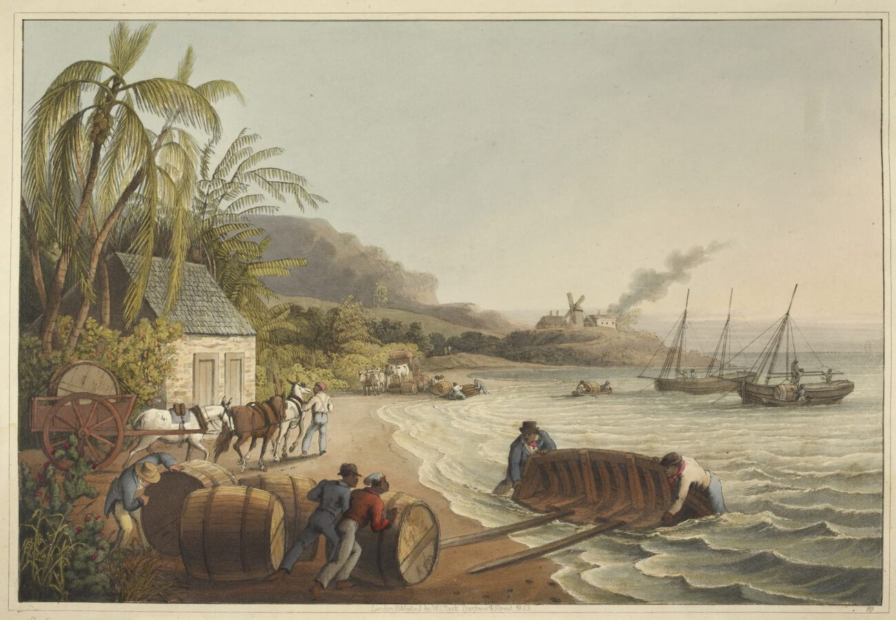 William Clark - Ten Views in the Island of Antigua (1823) - Plate 10: Slaves loading barrels onto a boat.