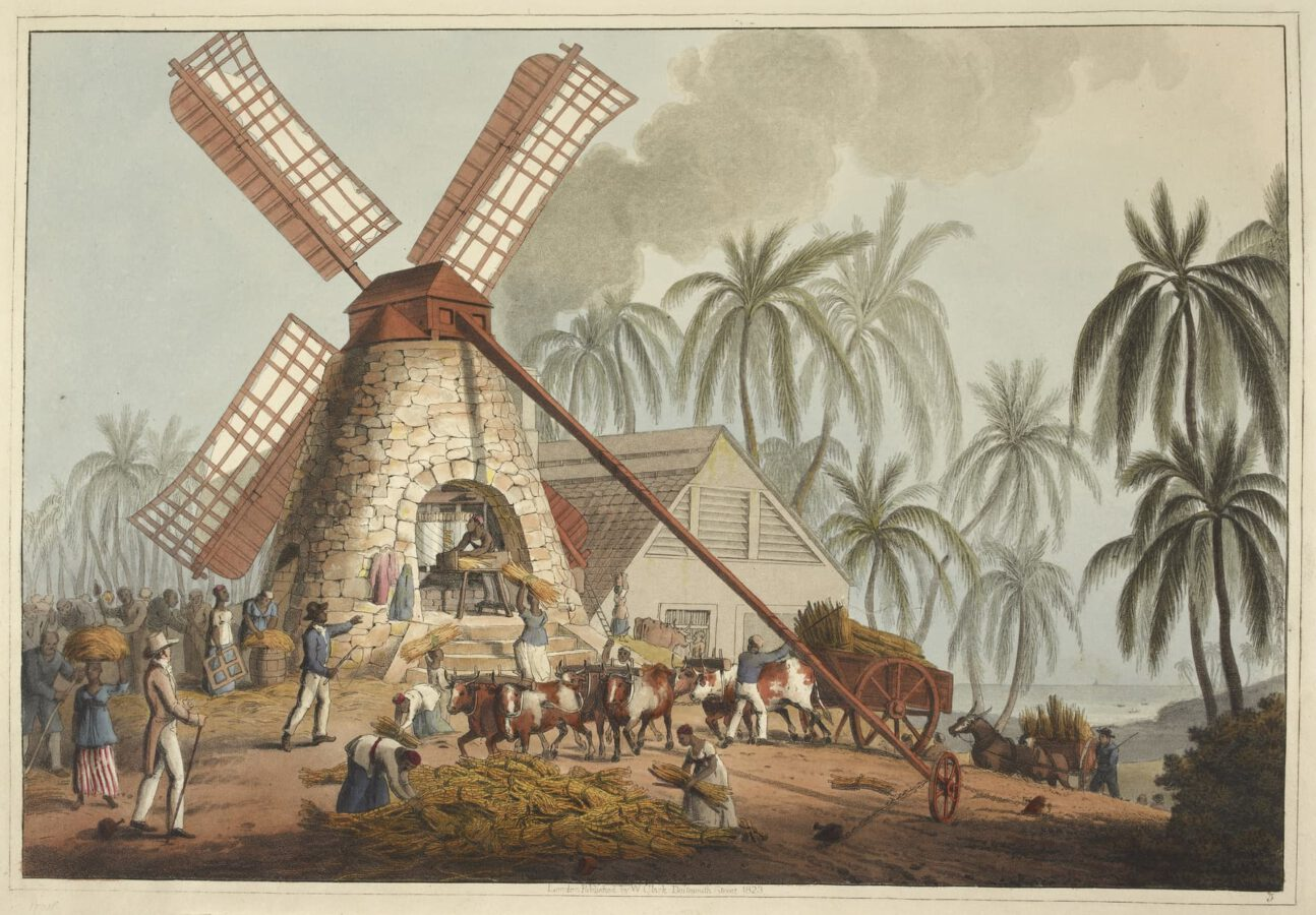 William Clark - Ten Views in the Island of Antigua (1823) - Plate 5: At the mill yard; grinding sugar cane in a windmill.