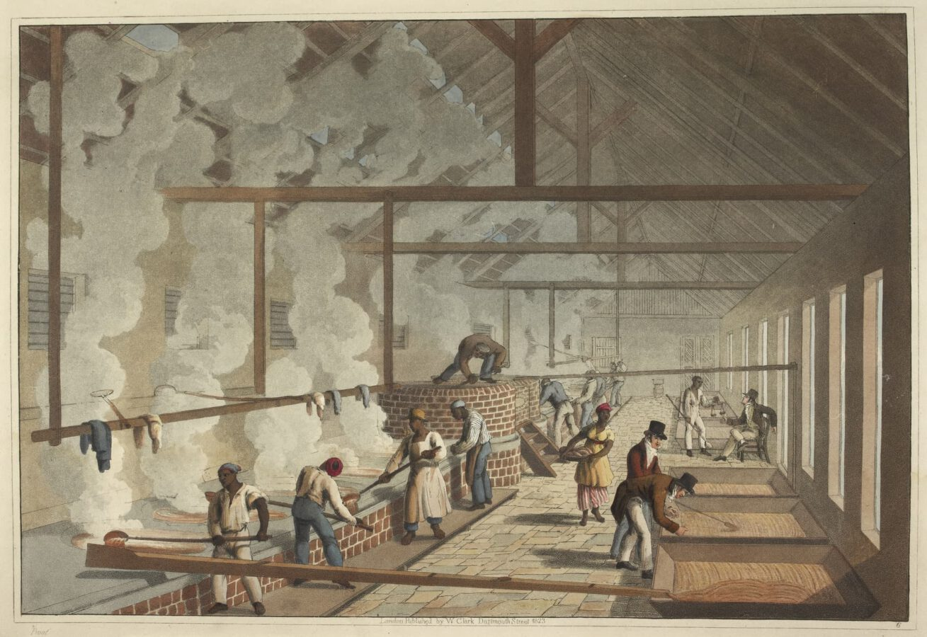 William Clark - Ten Views in the Island of Antigua (1823) - Plate 6: Slaves working in the brewhouse.