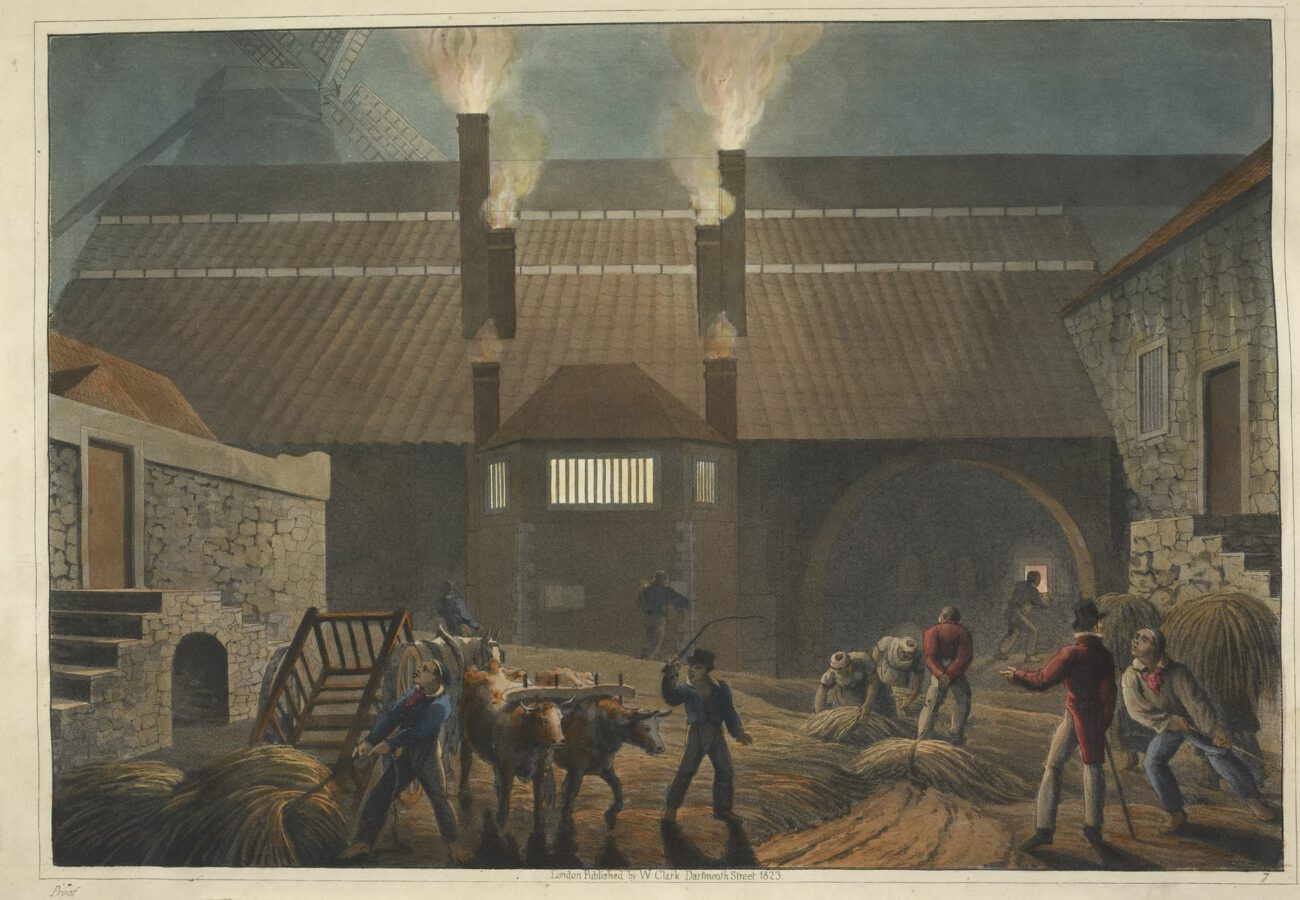 William Clark - Ten Views in the Island of Antigua (1823) - Plate 7: View of the yard of a brewhouse.