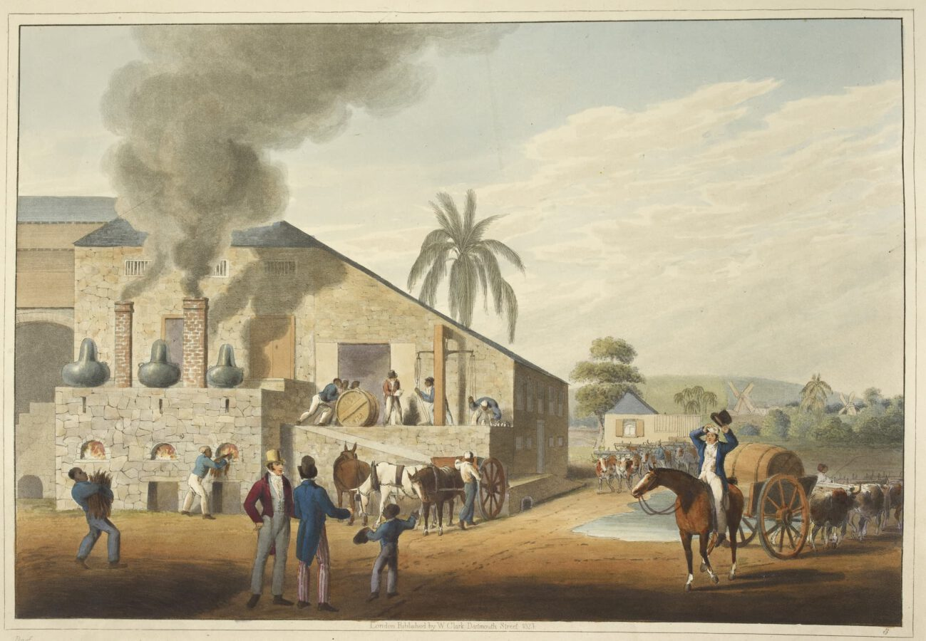 William Clark - Ten Views in the Island of Antigua (1823) - Plate 8: View of a boiler house and distillation stills.