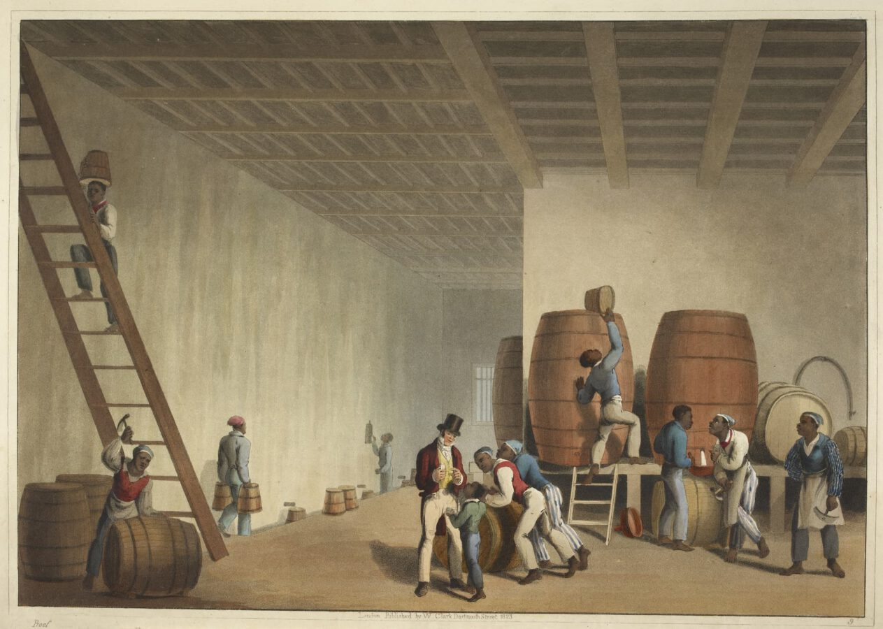 William Clark - Ten Views in the Island of Antigua (1823) - Plate 9: Interior view of the distillery; slaves loading rum barrels.