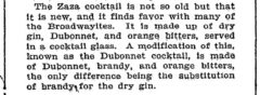 Zaza Cocktail. The New York Times. 8. May 1904.