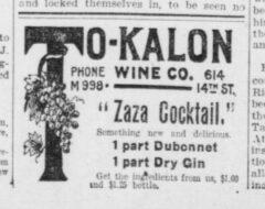 Zaza Cocktail. The Washington Herald, 15. May 1907, page 3.