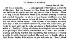 Letter to George Hillard. London, 16. November 1838.