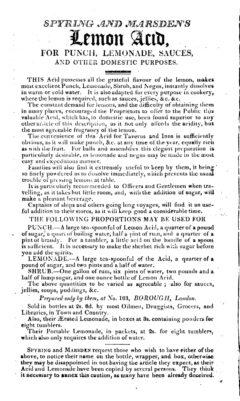 Lemon Acid - Repository of Arts, Literature, &c. &c., 1. May 1814.
